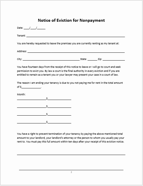 Eviction Notice Template Pdf Unique 12 Free Eviction Notice Samples & Templates In Ms Word