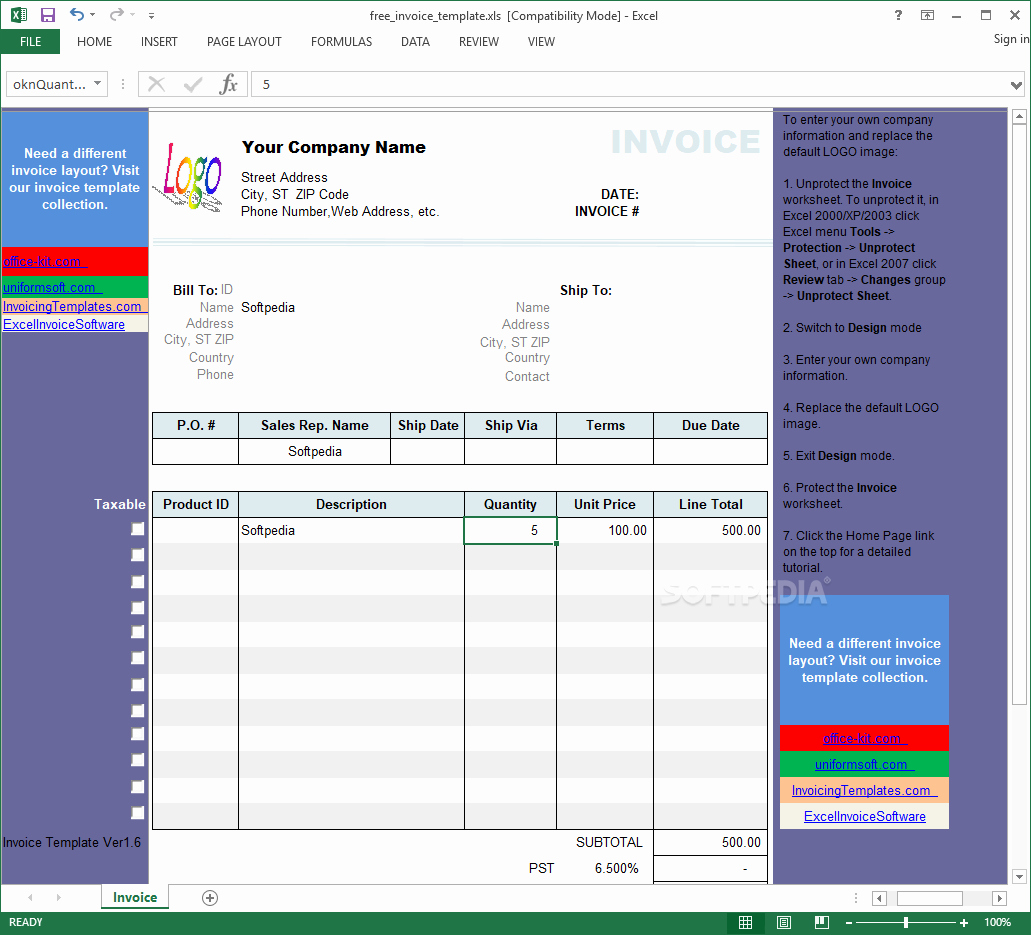 Excel Invoice Template 2003 Beautiful Download Excel Invoice Template 1 6