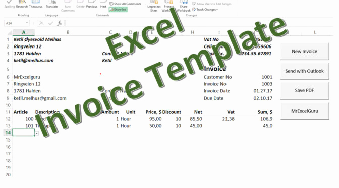 Excel Invoice Template 2003 Lovely Free Excel Invoice Template Send as Pdf Mrexcelguru