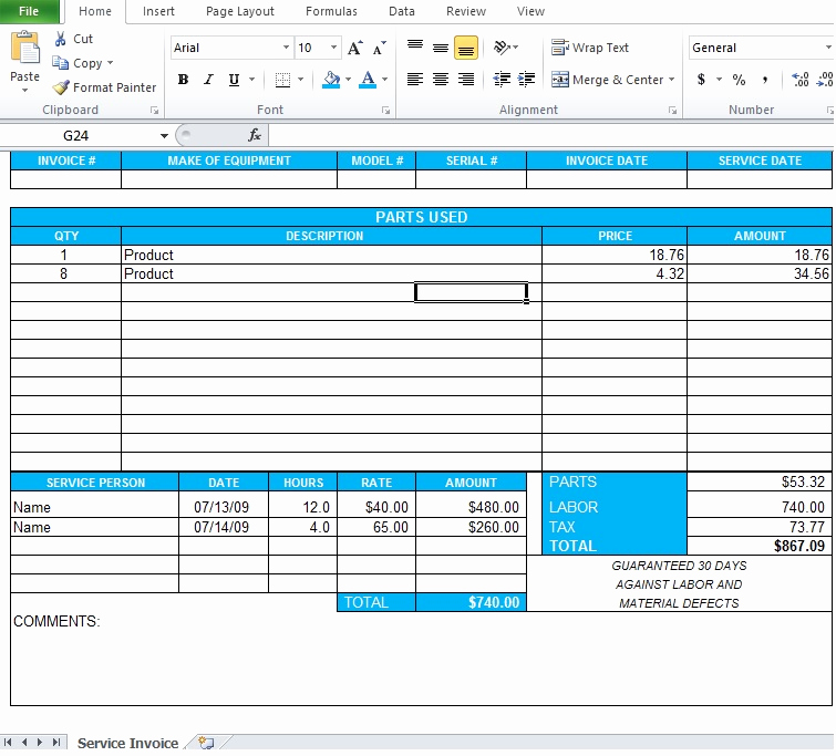 Excel Invoice Template 2003 Lovely Professional Service Invoice Template Excel Excel Tmp