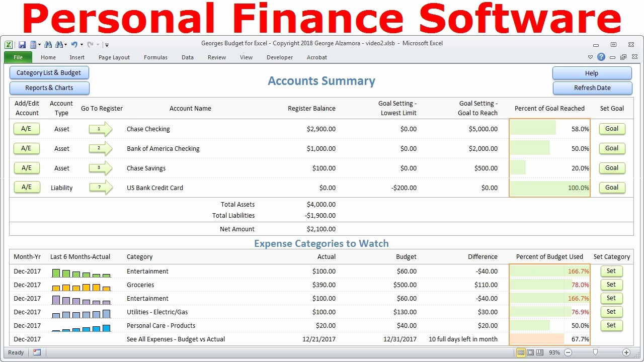 Excel Personal Budget Template Elegant top Bud software Personal Finance software Simple