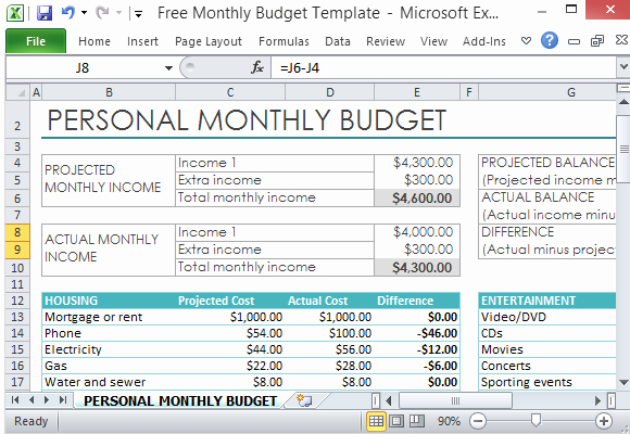 Excel Personal Budget Template Fresh Free Personal Monthly Bud Template for Excel