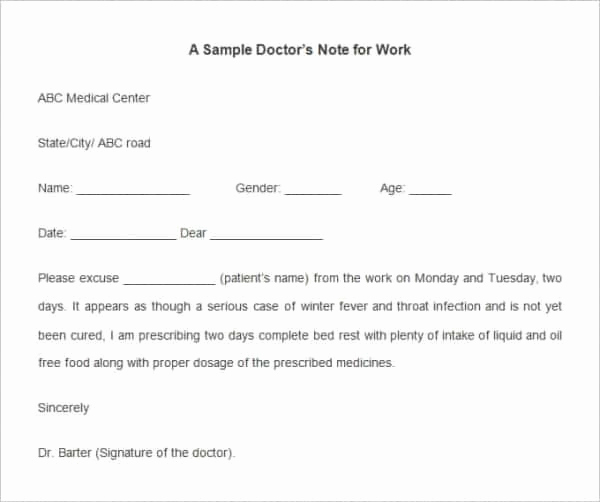 Fake Doctor Note Template Inspirational Fake Doctors Note Template for Work or School Pdf
