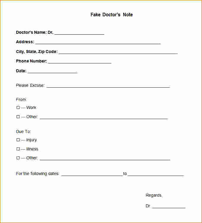 Fake Doctors Note Template Pdf Luxury 29 Of Doctors Excuse Template for Marshall Missouri
