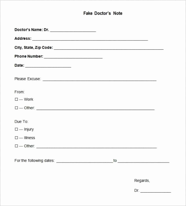 Fake Doctors Note Template Pdf New Fake Doctors Note