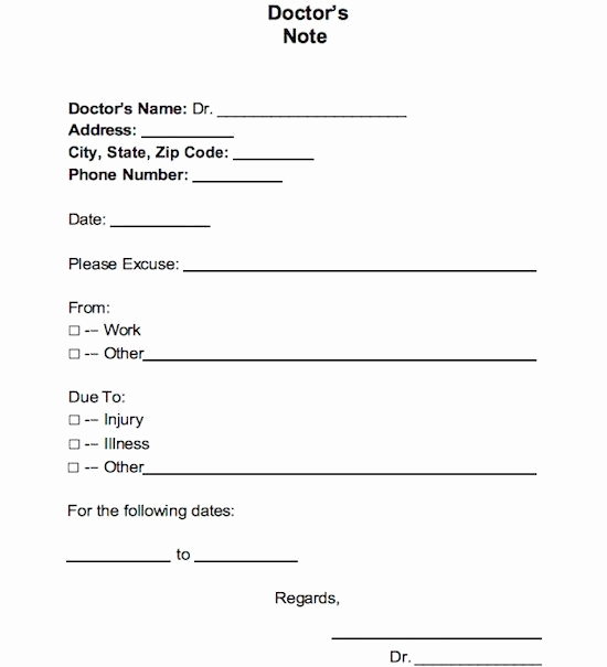 Fake Hospital Note Template Inspirational 21 Free Doctor Note Excuse Templates Template Lab In