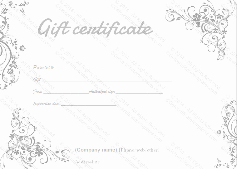 Fancy Gift Certificate Template Lovely Gray Swirls Gift Certificate Template