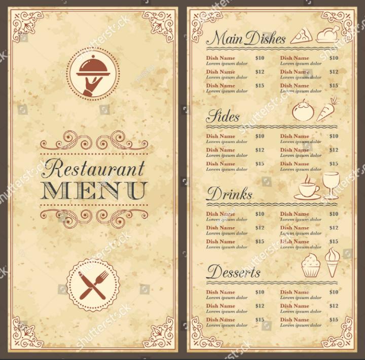 Fancy Restaurant Menu Template Fresh 30 Blank Menu Templates Ai Psd Docs Pages
