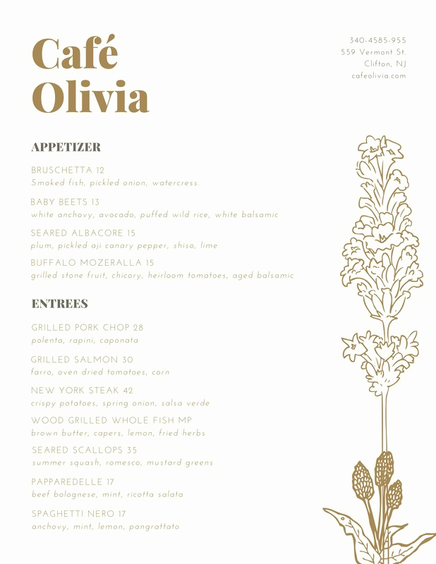 Fancy Restaurant Menu Template Luxury Brown Gold Elegant Fancy Illustration Plant Restaurant
