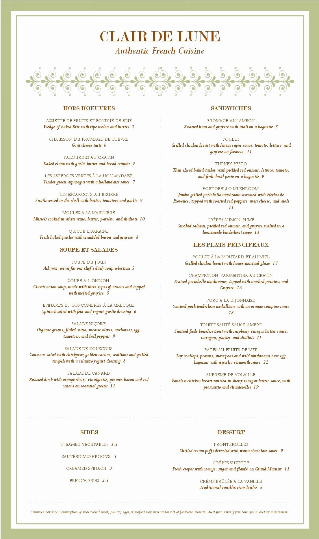 Fancy Restaurant Menu Template Unique Fancy French Menu Musthavemenus
