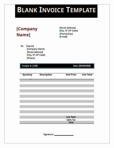 Fillable Invoice Template Pdf Awesome Blank Invoice Template Download Create Edit Fill and