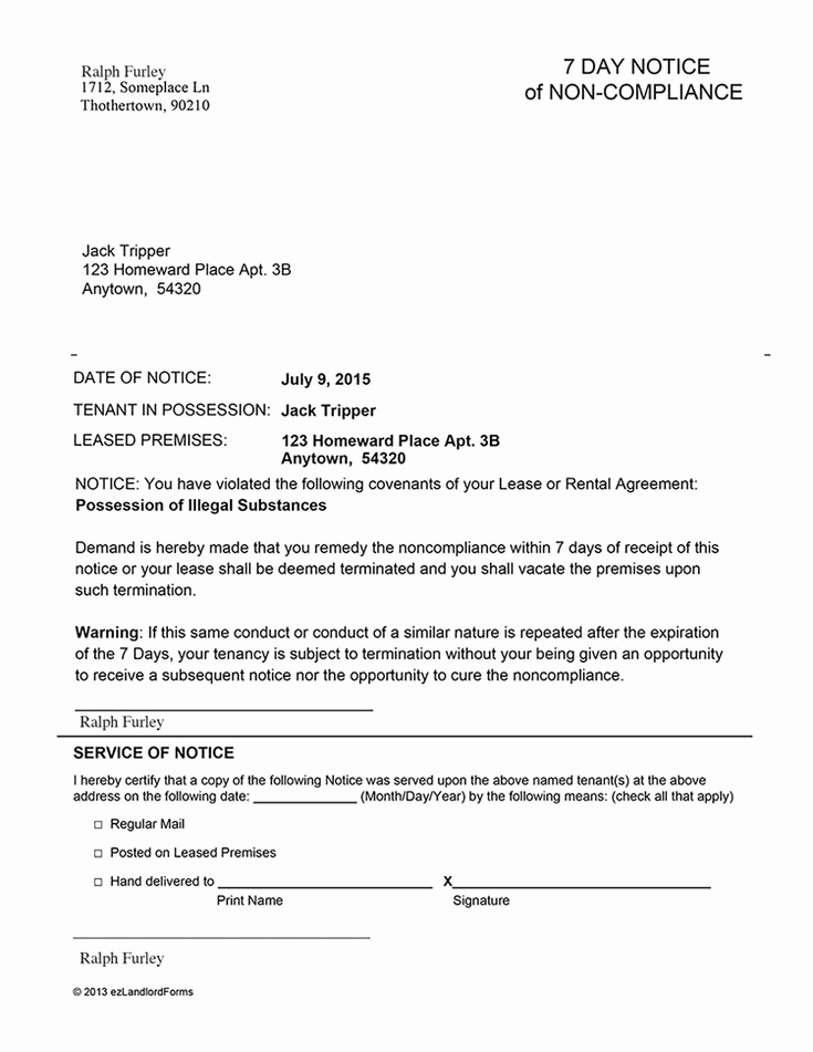 Florida Eviction Notice Template Awesome Florida 7 Day Notice Of Non Pliance