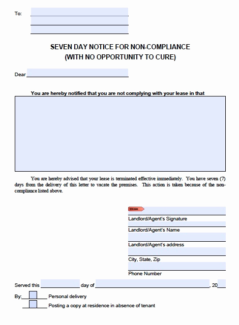 Florida Eviction Notice Template Fresh Download Florida Eviction Notice forms Notice to Quit