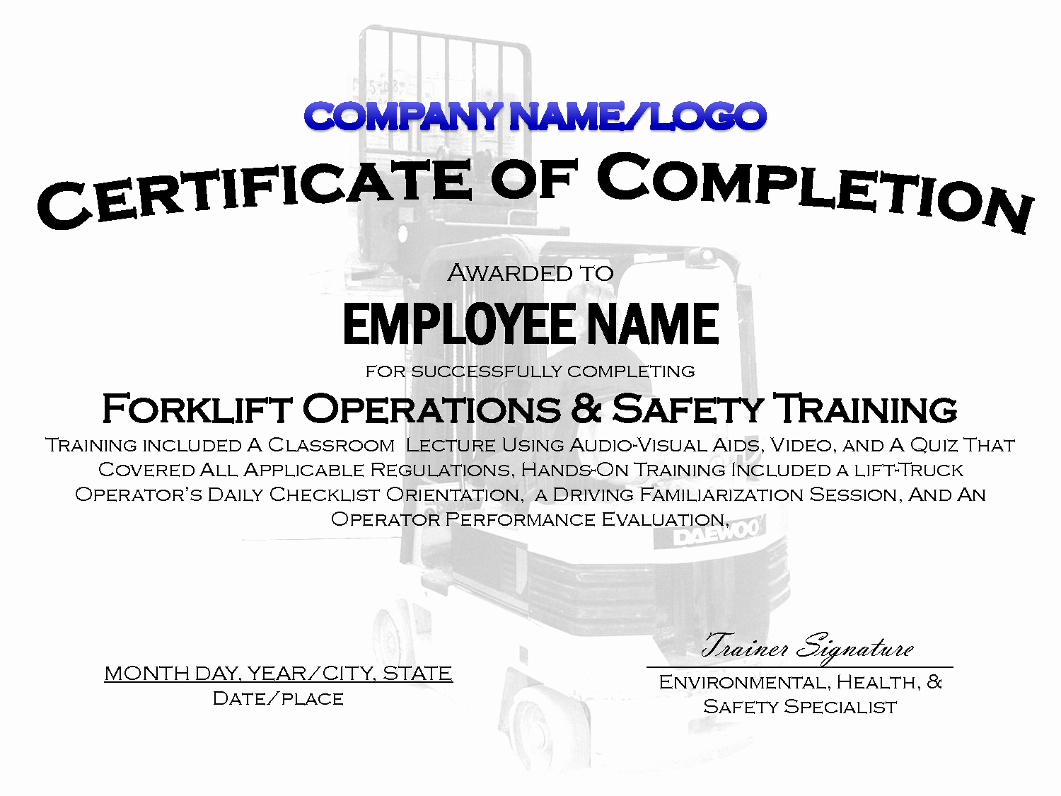 Forklift Certificate Template Free Elegant Best S Of Sample Training Certificate Template
