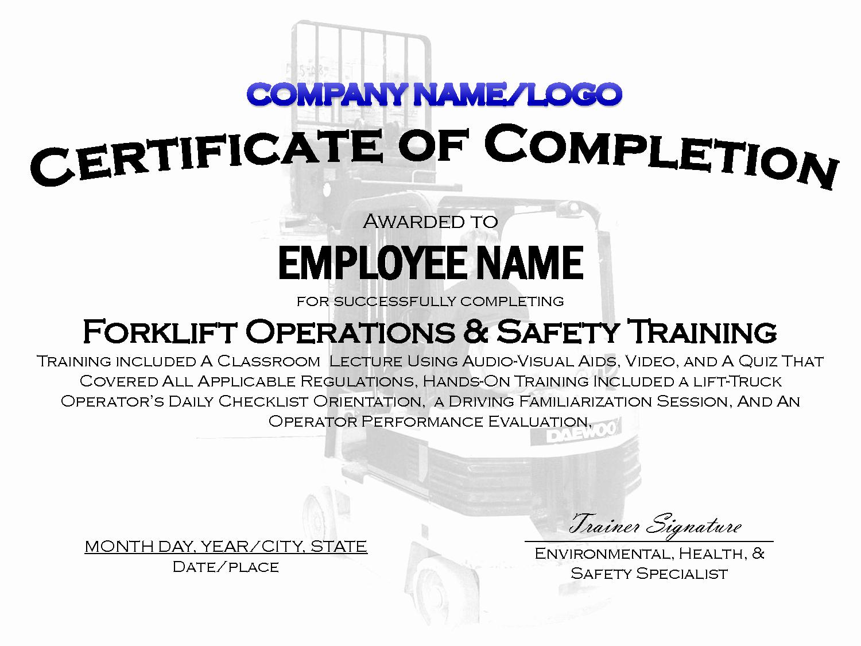 Forklift Certificate Template Free Elegant Best S Of Sample Training Certificate Template