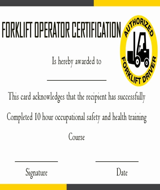 Forklift Certificate Template Free Lovely 15 forklift Certification Card Template for Training