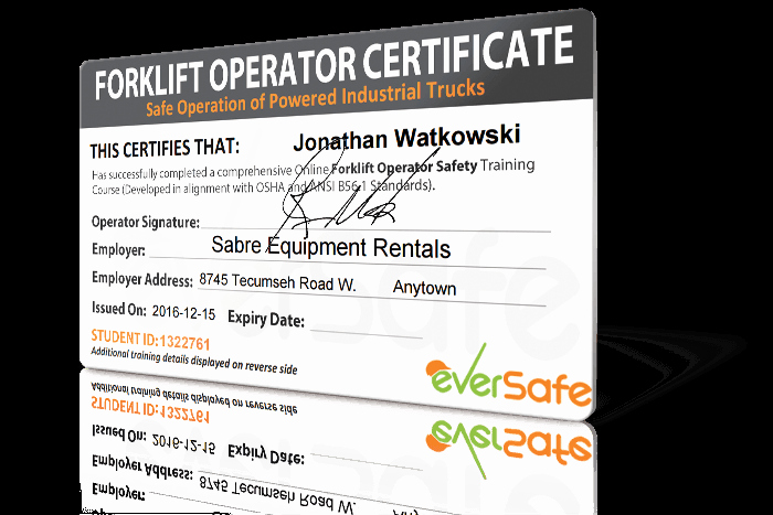 Forklift Certificate Template Free Lovely Line forklift Certification Training Get Your forklift
