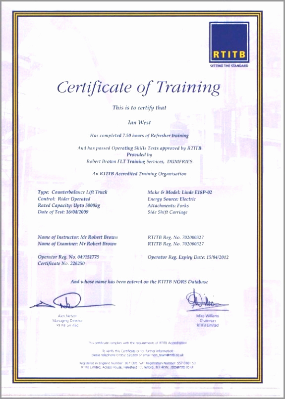 Forklift Certificate Template Free Luxury 30 forklift Operator Certificate Template