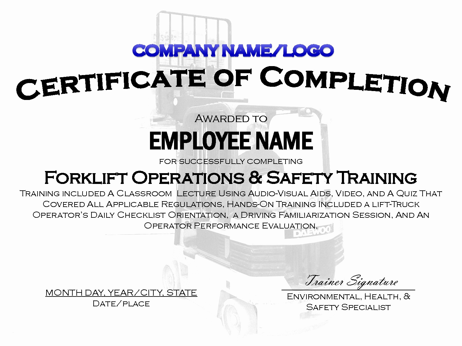 Forklift Training Certificate Template Beautiful forklift Certificate Template Free