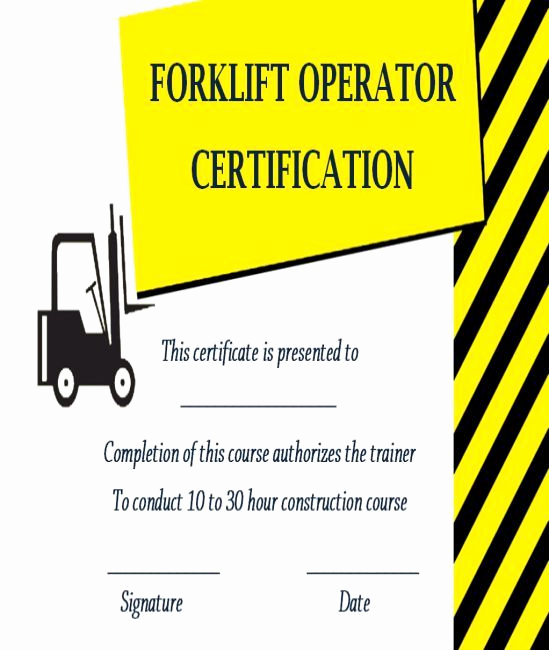 Forklift Training Certificate Template Inspirational 15 forklift Certification Card Template for Training