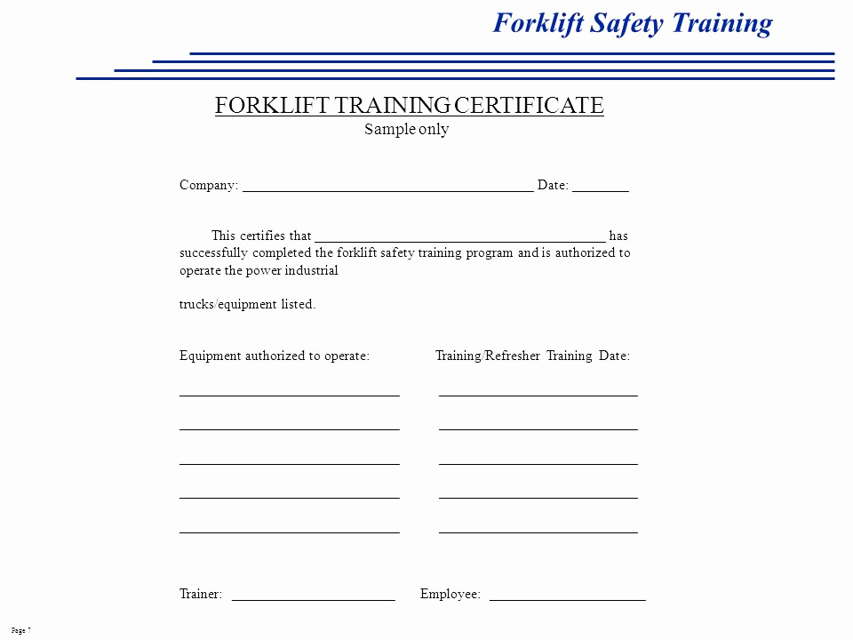 Forklift Training Certificate Template Luxury 26 Of fork Lift Written Safety Program Template