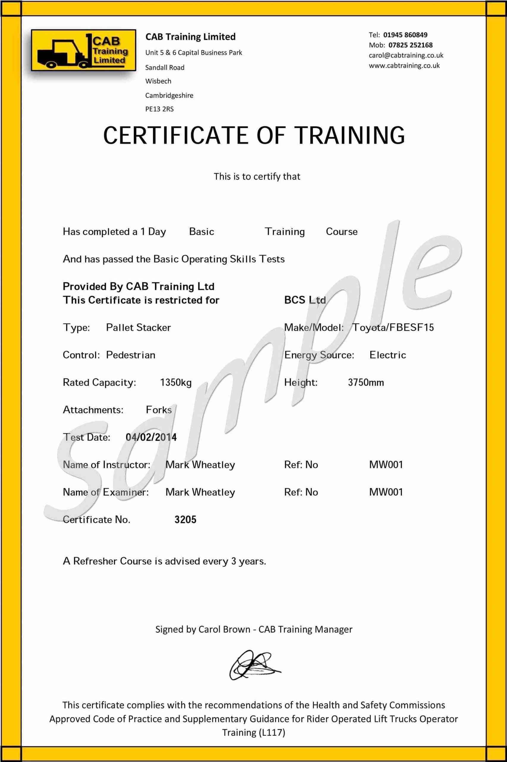 Forklift Training Certificate Template Unique forklift Certificate Template Free