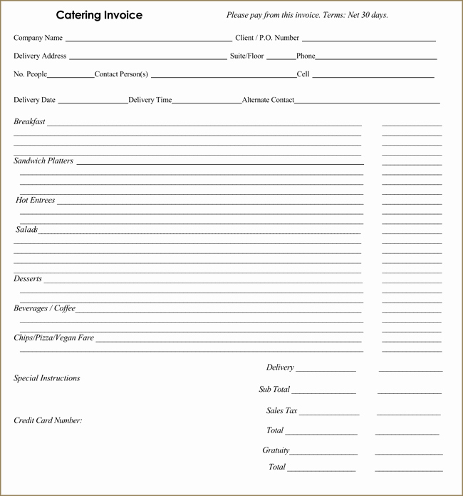 Free Catering Invoice Template Awesome Catering Invoice Templates 10 Different formats In Pdf