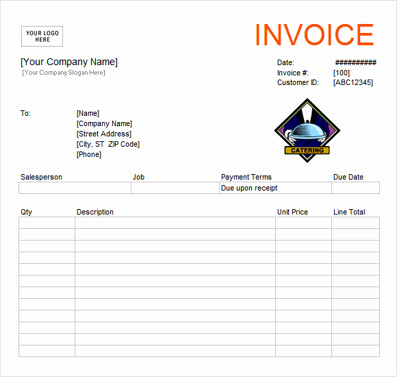 Free Catering Invoice Template Beautiful Free 11 Catering Invoice Templates In Free Samples