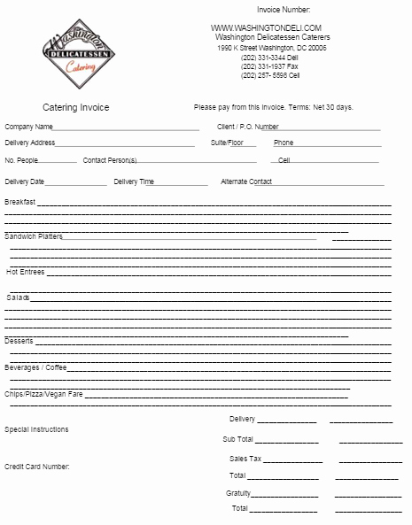 Free Catering Invoice Template Best Of Catering Invoice Template 4 In 2019