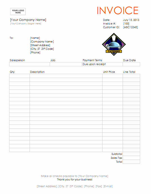 Free Catering Invoice Template Fresh Catering Invoice Template