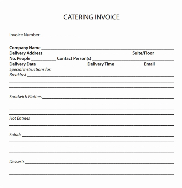 Free Catering Invoice Template Inspirational Free 17 Catering Invoice Samples In Google Docs