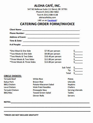 Free Catering Invoice Template New Catering Invoice Template Excel