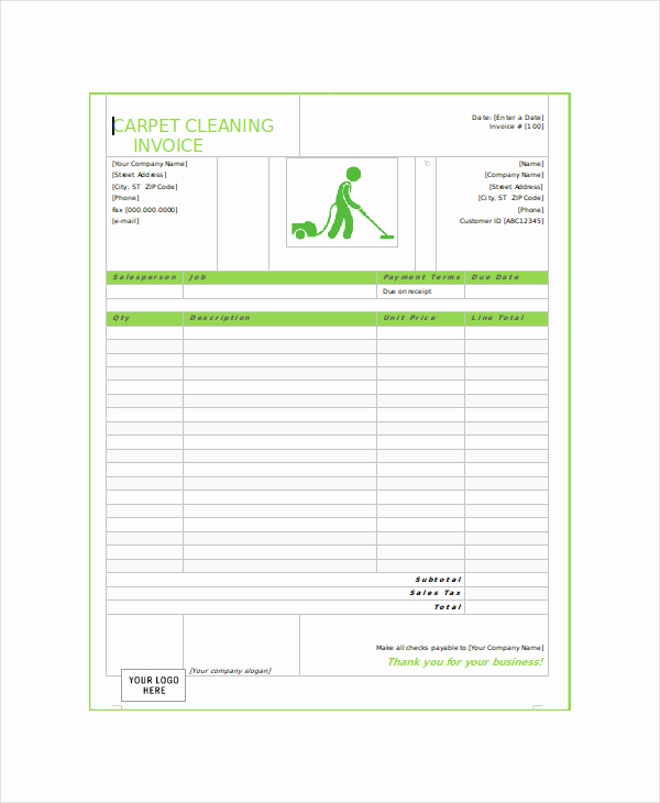 Free Cleaning Invoice Template Elegant Sample Cleaning Service Receipt 5 Examples In Word Pdf