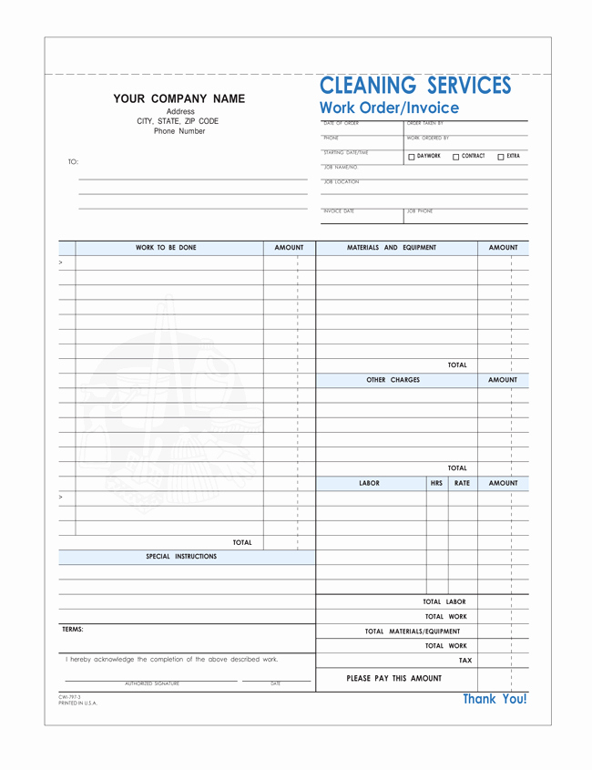 Free Cleaning Invoice Template Inspirational Free Printable Cleaning Service Invoice Templates 10