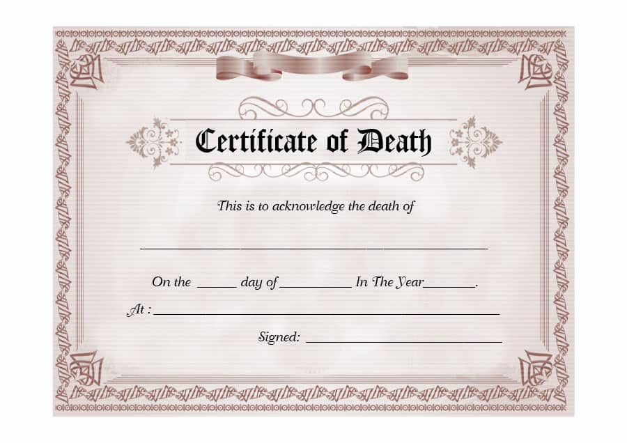 Free Death Certificate Template Beautiful 37 Blank Death Certificate Templates [ Free] Templatelab