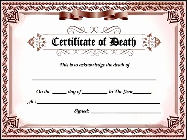Free Death Certificate Template Beautiful Death Certificate Sample