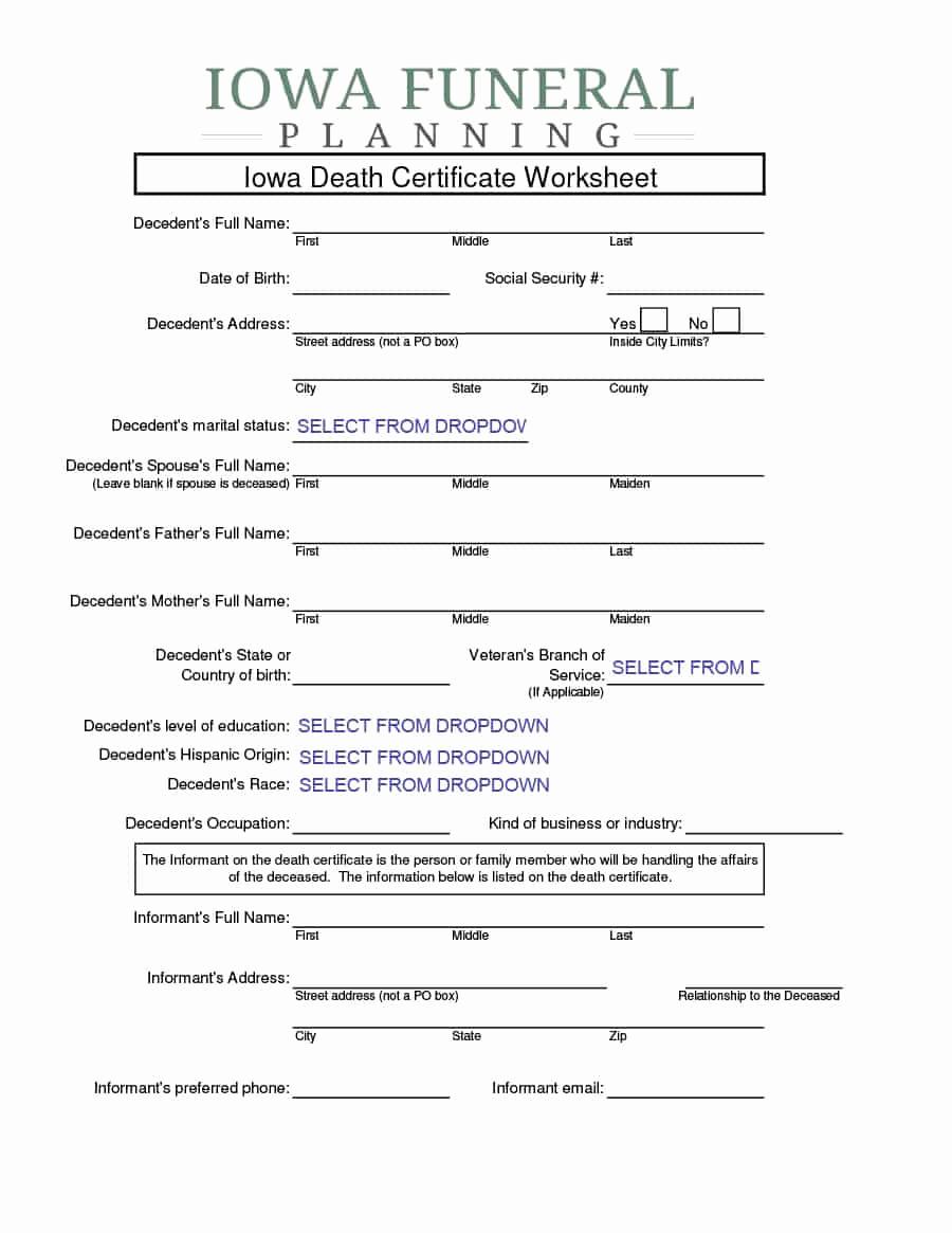 Free Death Certificate Template Best Of 37 Blank Death Certificate Templates [ Free] Templatelab
