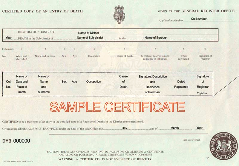 Free Death Certificate Template Fresh Death Certificate Uk