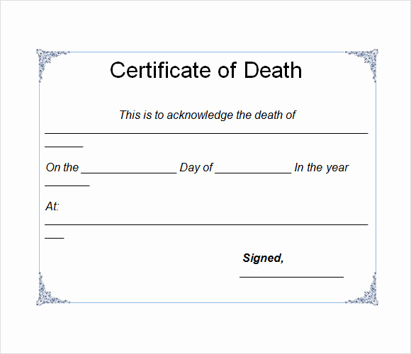Free Death Certificate Template Fresh Sample Death Certificate Template 7 Download Documents