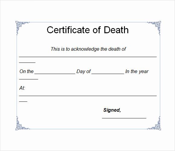 Free Death Certificate Template Fresh Sample Death Certificate Template 7 Download Documents