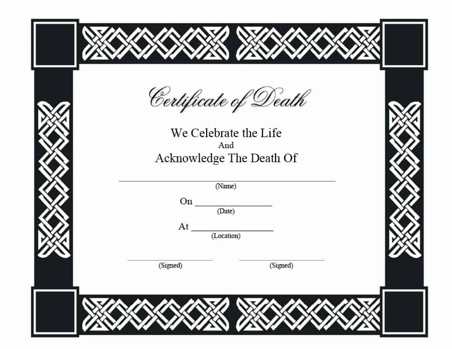Free Death Certificate Template Inspirational 37 Blank Death Certificate Templates [ Free] Templatelab