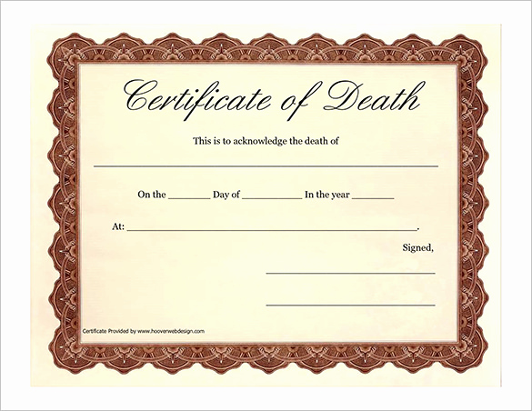 Free Death Certificate Template Lovely 7 Death Certificate Templates – Free Word Pdf Documents