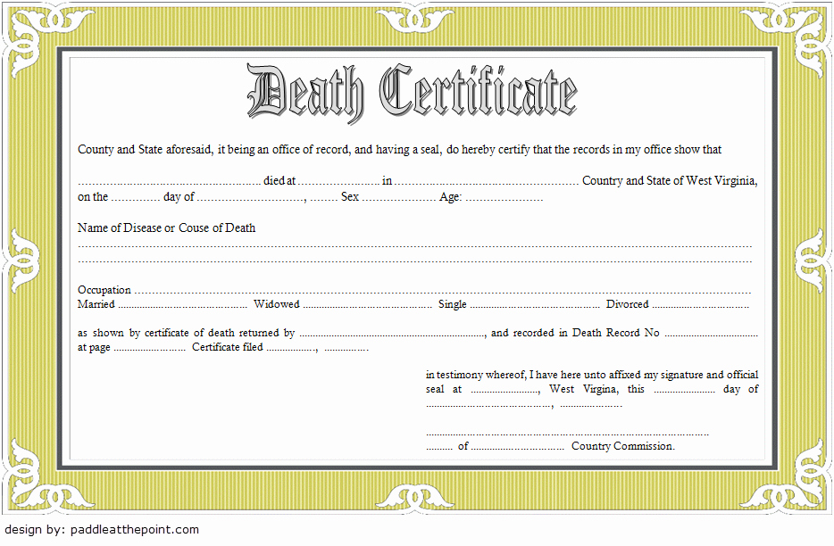 Free Death Certificate Template New Blank Death Certificate Template 7 Unwanted Documents