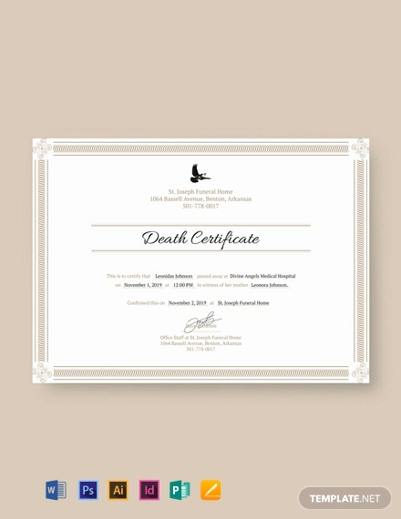 Free Death Certificate Template Unique Free Death Certificate Template Word Psd