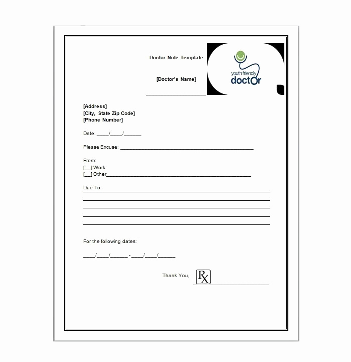 Free Doctor Note Template Beautiful Free Printable Doctors Note for Work