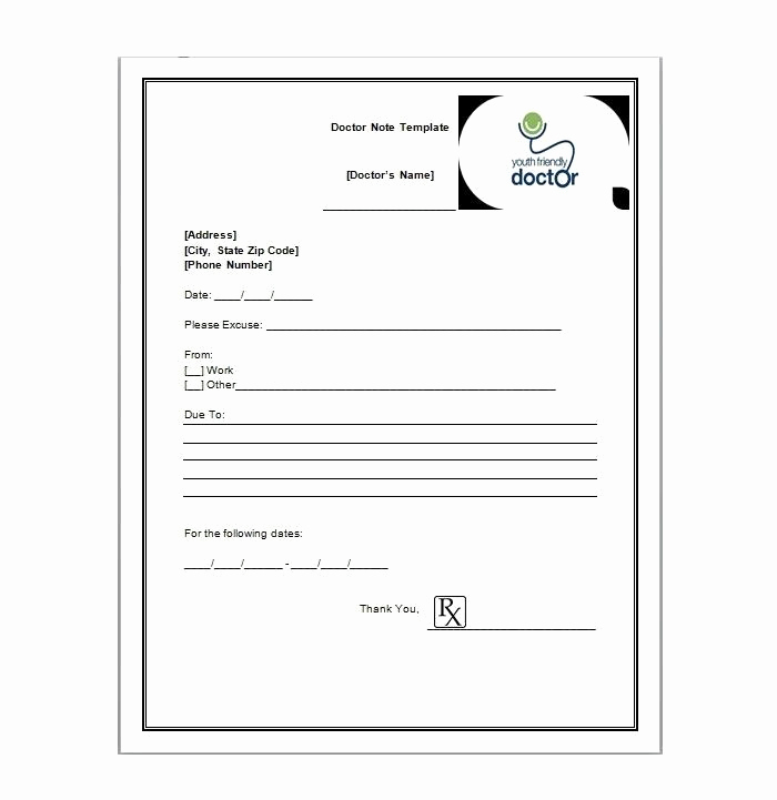 Free Doctor Note Template Download Inspirational Free Printable Doctors Note for Work