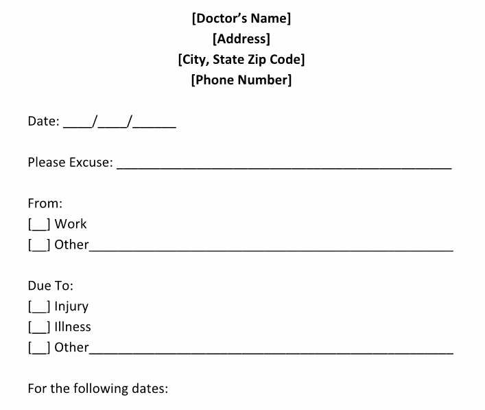 Free Doctors Note Template Best Of 25 Free Doctor Note Excuse Templates Templatelab