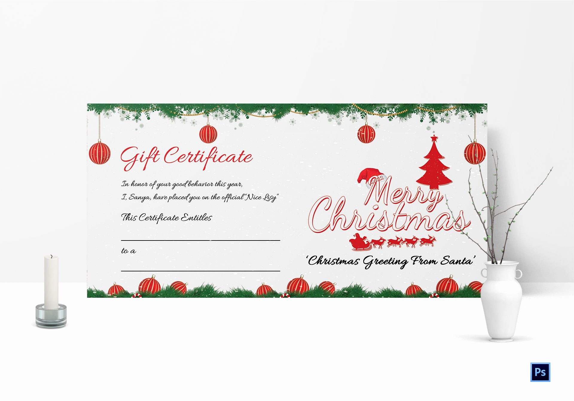 Free Downloadable Gift Certificate Template Awesome Christmas Certificate Template