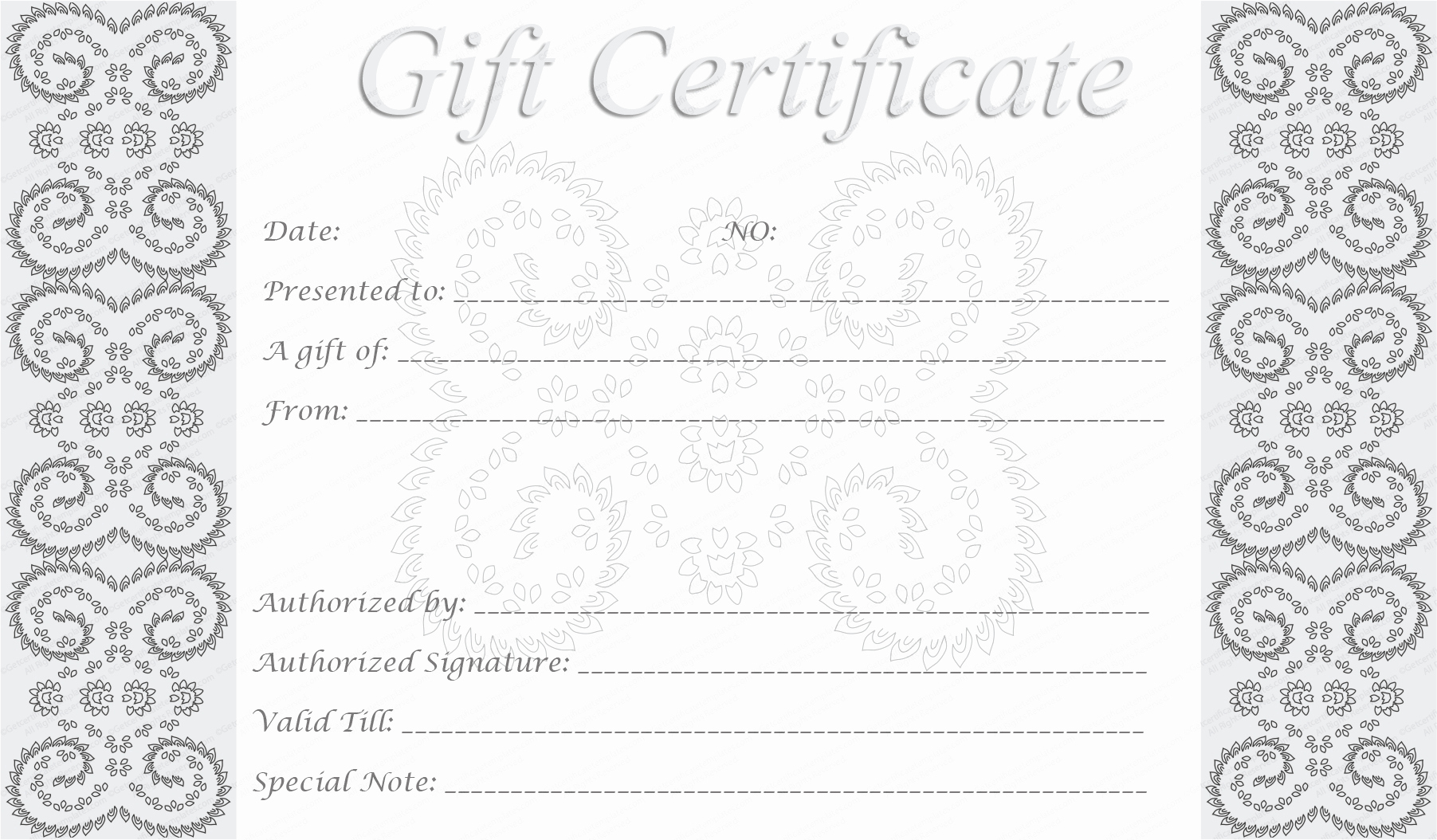 Free Downloadable Gift Certificate Template Inspirational Editable and Printable Silver Swirls Gift Certificate Template