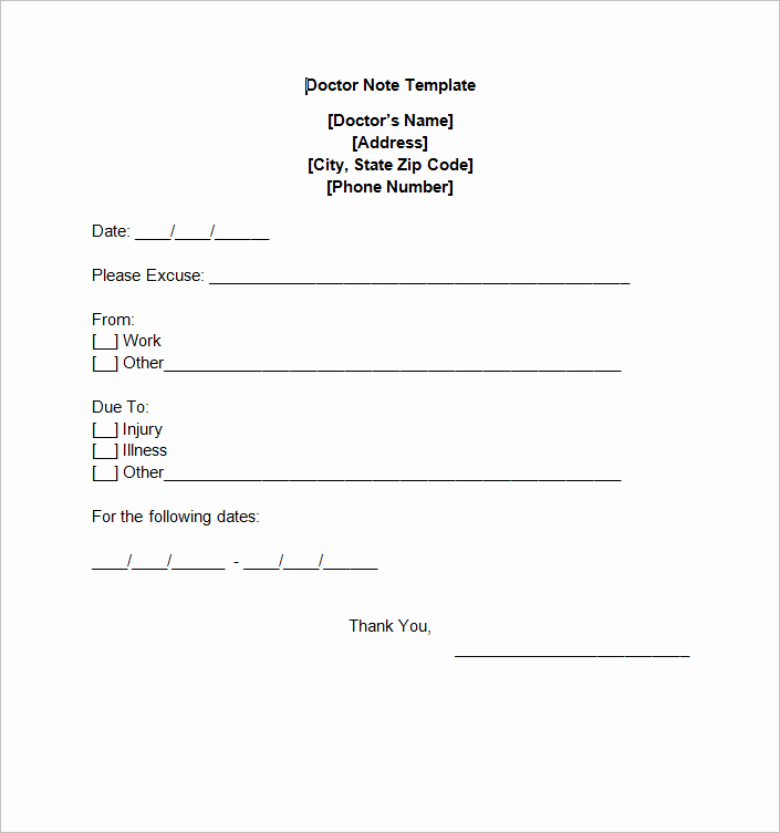 Free Dr Note Template Awesome Doctors Note Template
